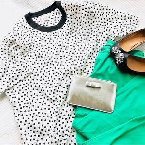 Jordan Women BLk wht polka dot shoulder pad blouse